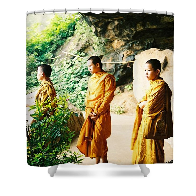 Monks Shower Curtain featuring the photograph Thai Monks by Mary Rogers