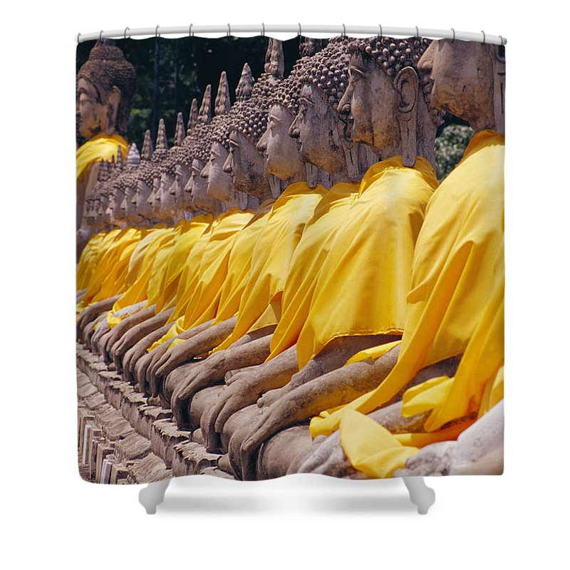 Asian Art Shower Curtain featuring the photograph Thailand, Ayathaya by Bill Brennan - Printscapes