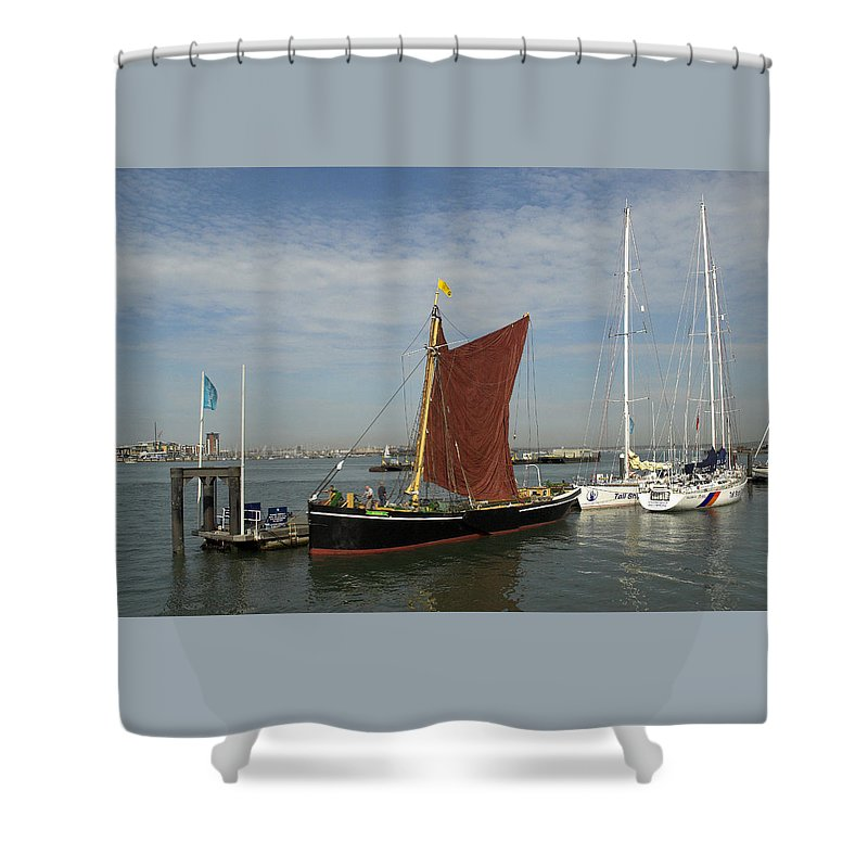 Thames Shower Curtain featuring the photograph Thames Sailing Barge 'alice' by Hazy Apple