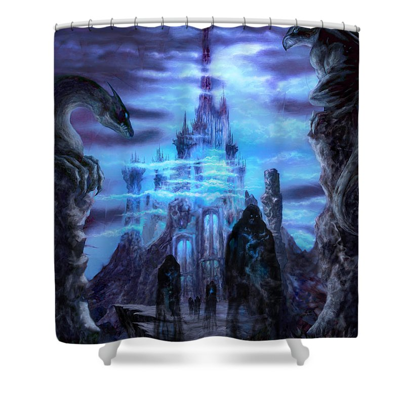 Tolkien Shower Curtain featuring the mixed media Thangorodrim by Curtiss Shaffer