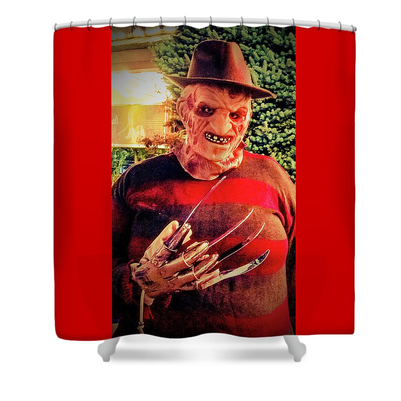 Things Can Get Ugly Fast On Halloween Shower Curtain featuring the photograph Things Can Get Ugly Fast On Halloween by Shirley Anderson