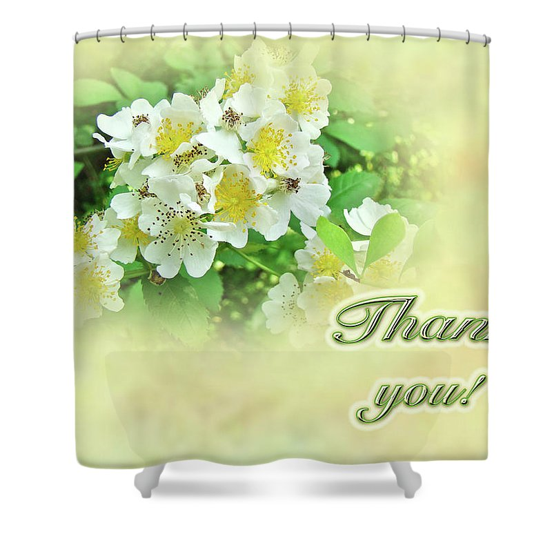 thank You Shower Curtain featuring the photograph Thank You Card - Multiflora Roses by Mother Nature