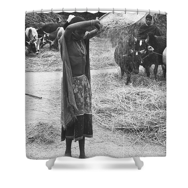 Tharu Shower Curtain featuring the photograph Tharu Rice Winnow by Omar Shafey