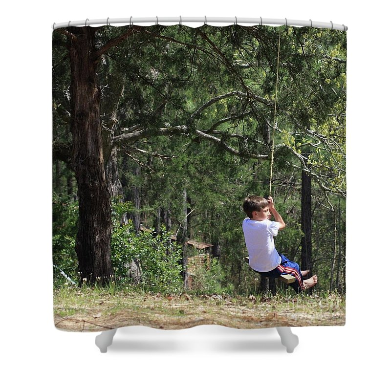 Tree Swing Shower Curtain featuring the photograph That Ole' Rope Swing by Kim Henderson