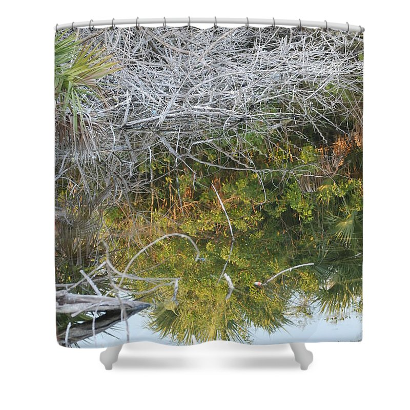 Green Shower Curtain featuring the photograph Thatch Of Wood by Rob Hans