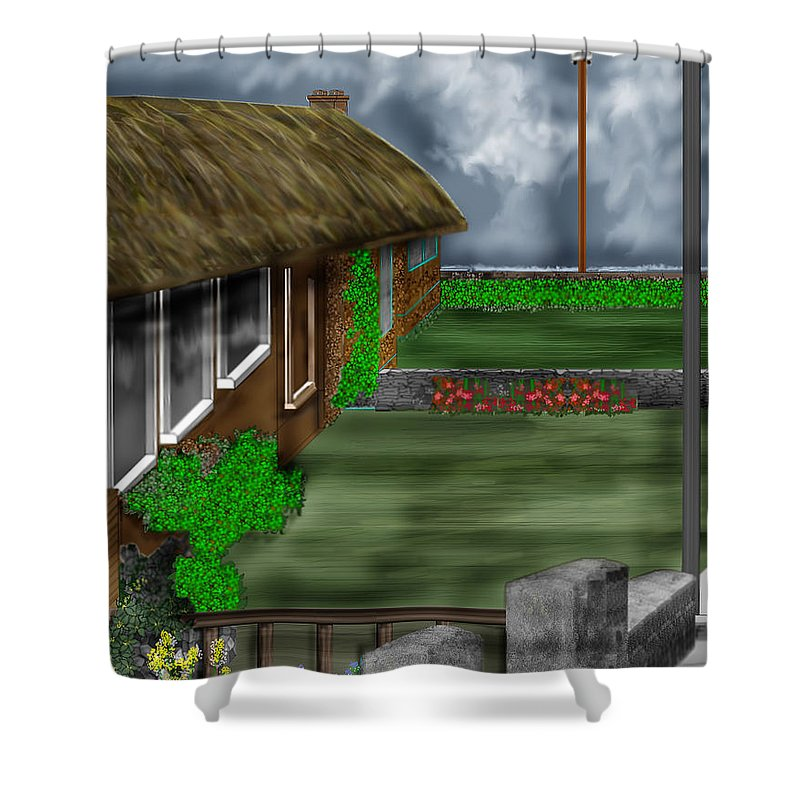 Cottages Shower Curtain featuring the painting Thatched Roof Cottages In Ireland by Anne Norskog