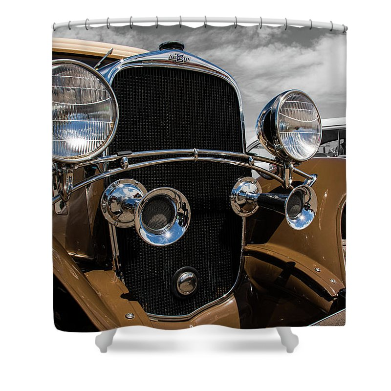 Classic Cars Shower Curtain featuring the photograph The 32 Chevy Confederate Deluxe by John Bartelt