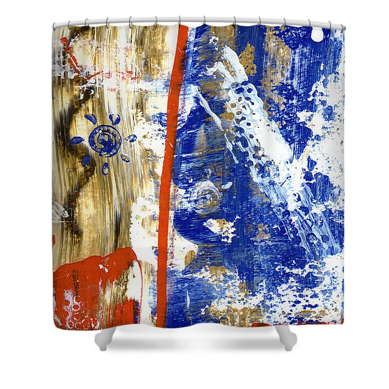 Abstract Shower Curtain featuring the painting The 4th by Wayne Potrafka