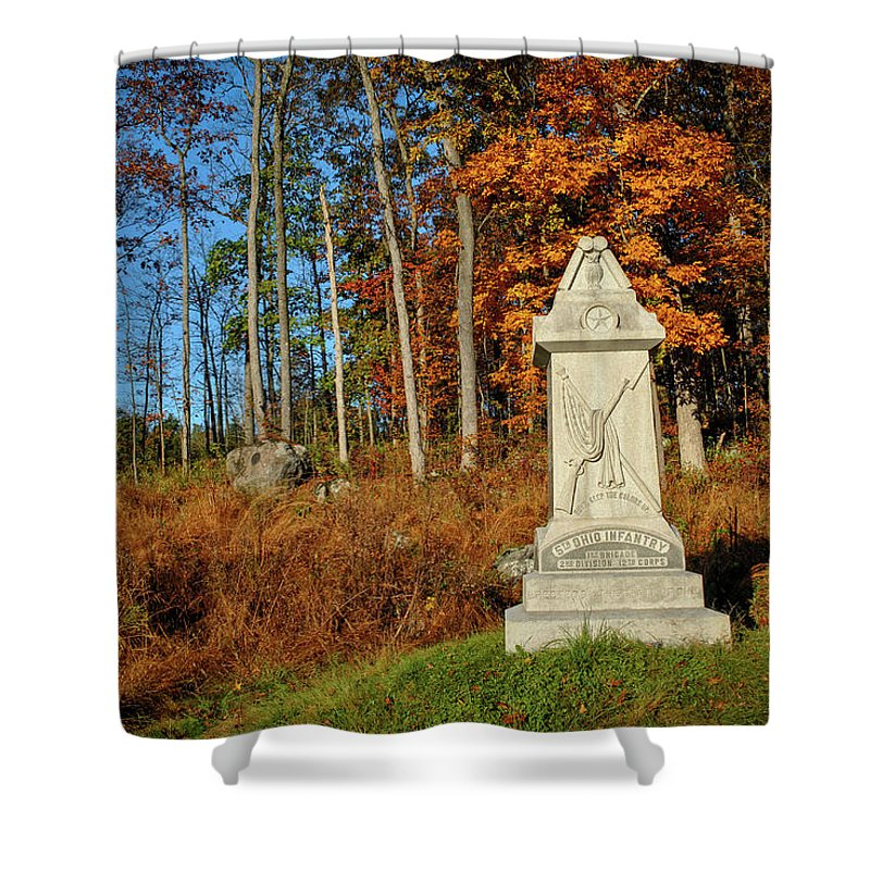 Civil War Shower Curtain featuring the photograph The 5th Ohio by Jen Goellnitz