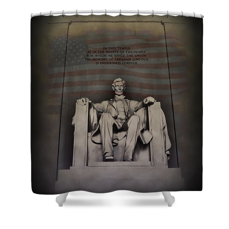 Abraham Lincoln Shower Curtain featuring the photograph The Abraham Lincoln Memorial by Bill Cannon