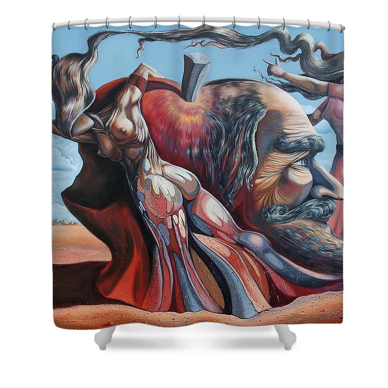 Surrealism Shower Curtain featuring the painting The Adam-eve Delusion by Darwin Leon