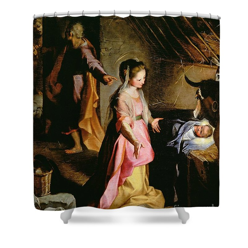 Nativity Shower Curtain featuring the painting The Adoration Of The Child by Federico Fiori Barocci or Baroccio