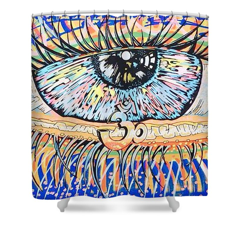 Ohm Shower Curtain featuring the mixed media The All Seeing All Colourfull.... by Lowkey Luciano