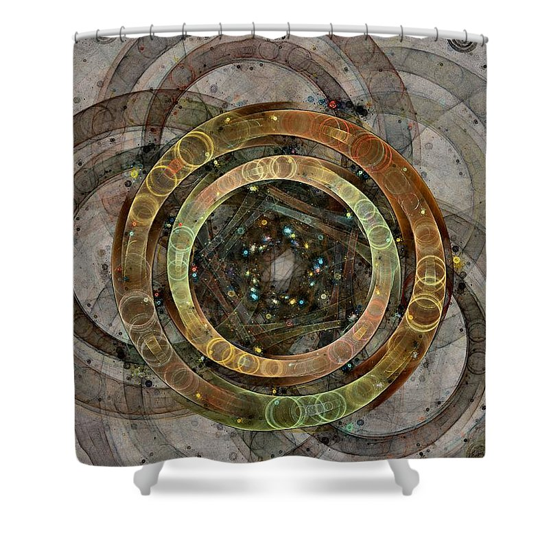 Circles Shower Curtain featuring the digital art The Almagest - Homage To Ptolemy - Fractal Art by NirvanaBlues