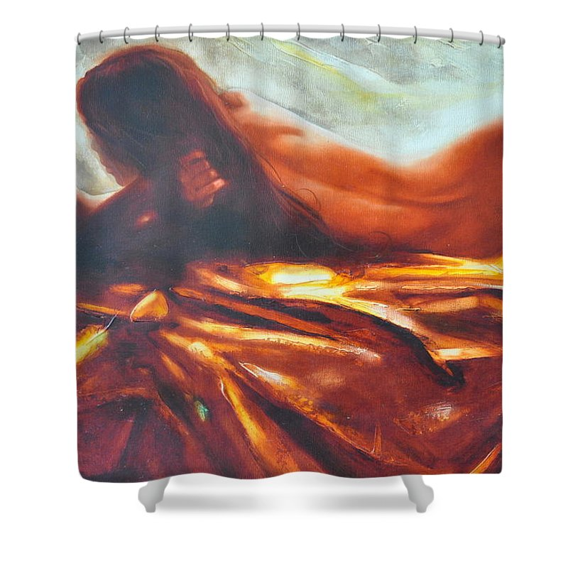 Painting Shower Curtain featuring the painting The Amber Speck Of Light by Sergey Ignatenko