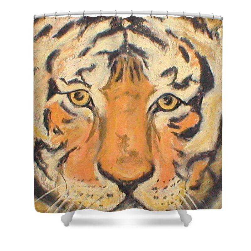 Pastel Shower Curtain featuring the drawing The Amber Stare by Cori Solomon