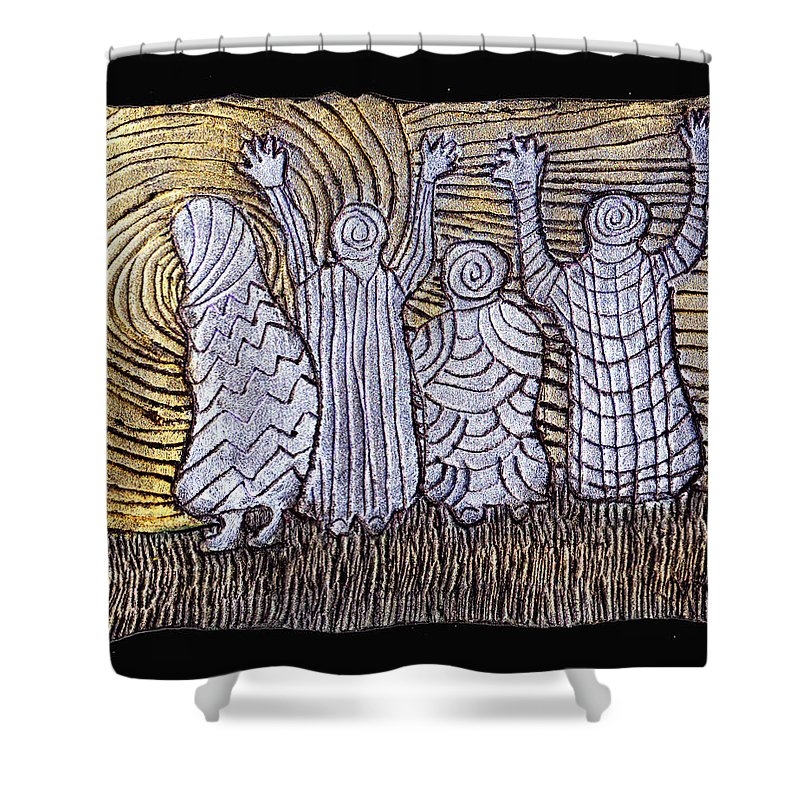 Spirits Shower Curtain featuring the painting The Ancients by Wayne Potrafka