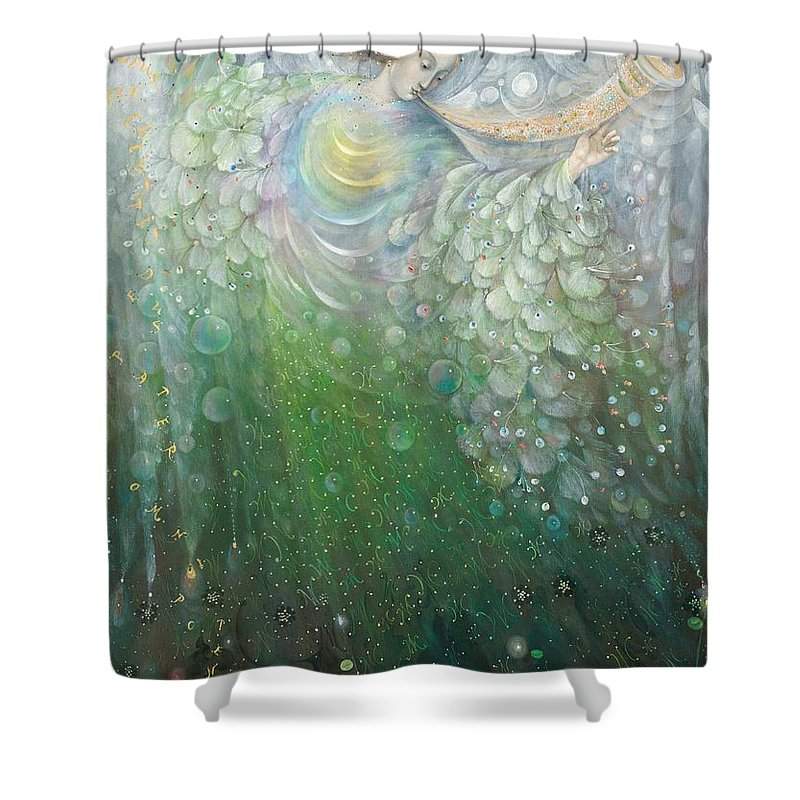 Angel Shower Curtain Featuring The Painting Of Growth By Annael Anelia Pavlova