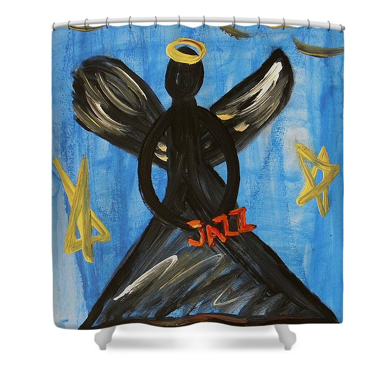 Angel Shower Curtain featuring the painting The Angel Of Jazz by Mary Carol Williams
