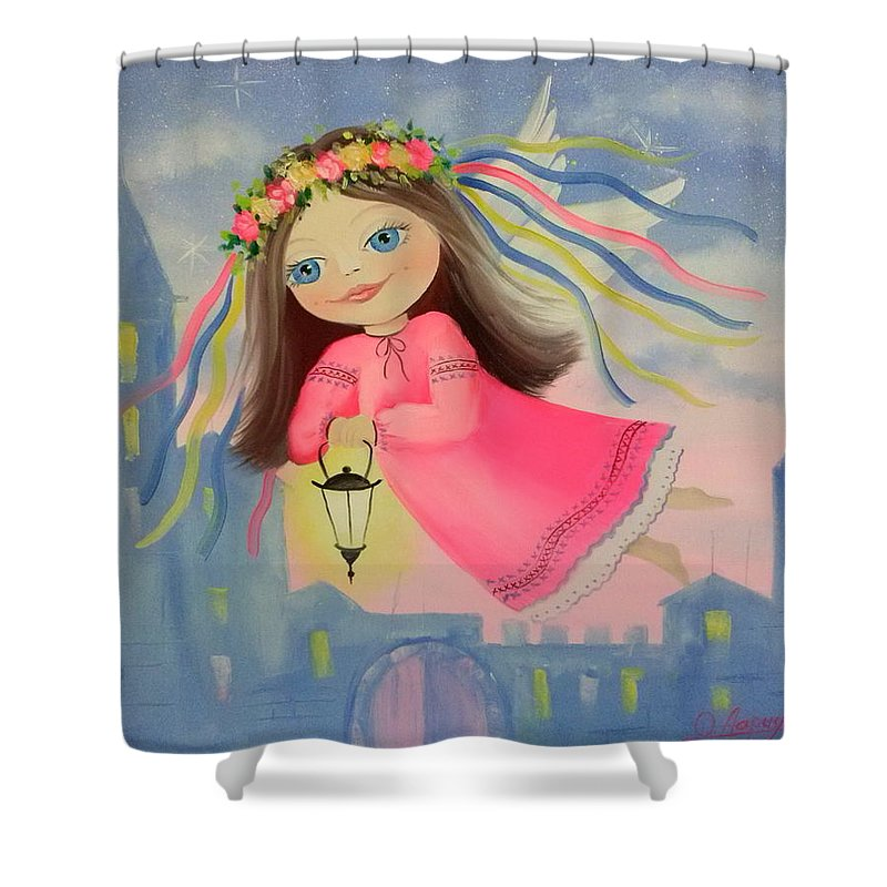 The Angel Of Light Shower Curtain featuring the painting The Angel Of Light by Olha Darchuk
