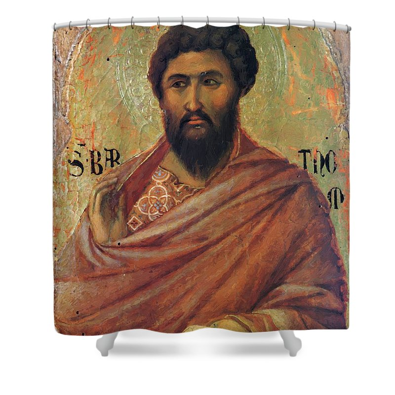 The Shower Curtain featuring the painting The Apostle Bartholomew 1311 by Duccio
