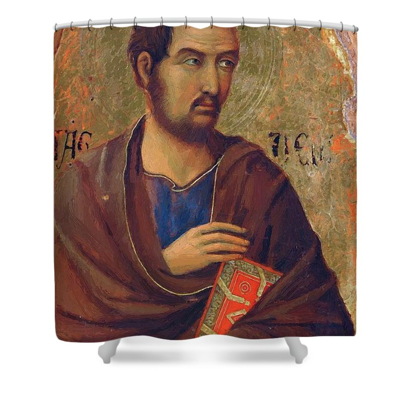 The Shower Curtain featuring the painting The Apostle Thaddeus 1311 by Duccio