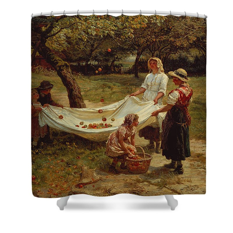 The Shower Curtain featuring the painting The Apple Gatherers by Frederick Morgan