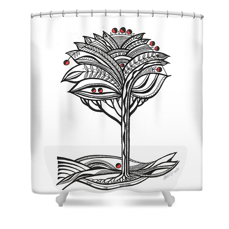 Abstract Shower Curtain featuring the drawing The Apple Tree by Aniko Hencz