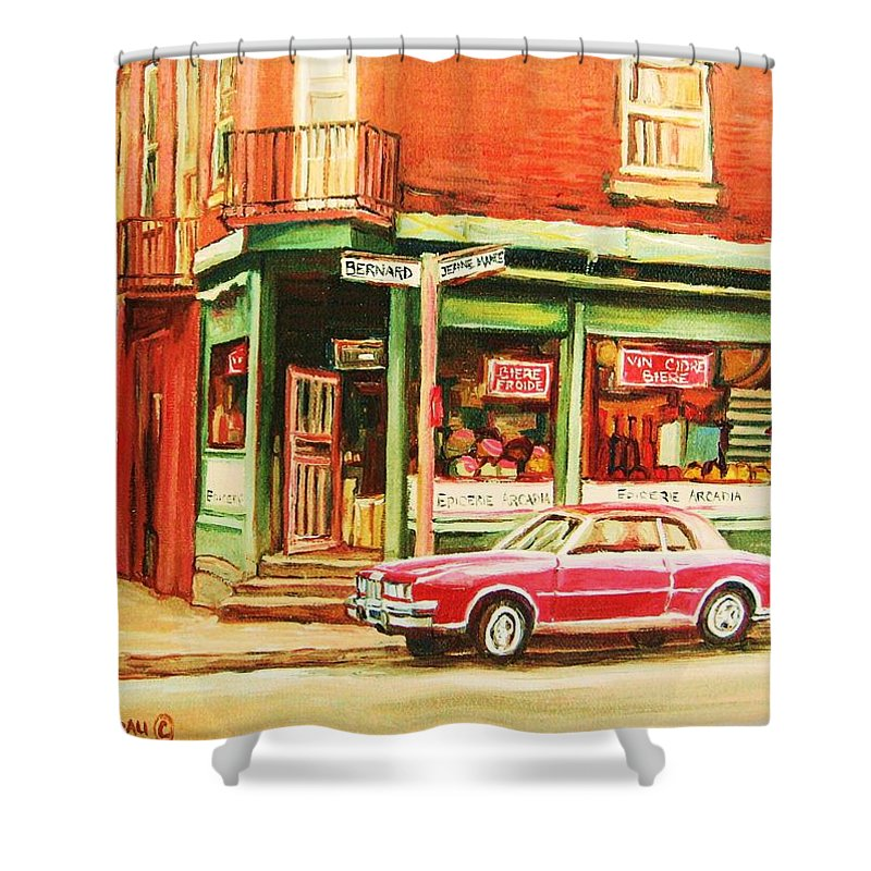 Montreal Shower Curtain featuring the painting The Arcadia Five And Dime Store by Carole Spandau