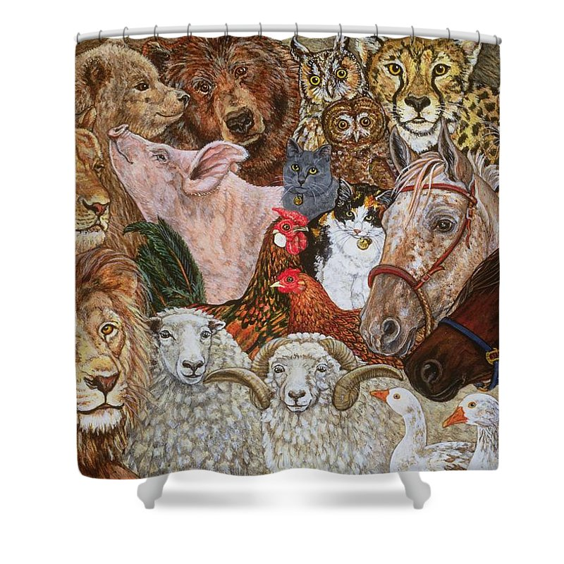 Lions Shower Curtain featuring the painting The Ark Spread by Ditz