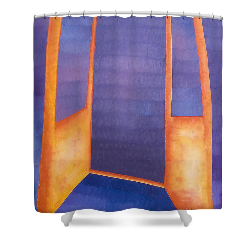 Death Shower Curtain featuring the painting The Arrival by Judy Henninger