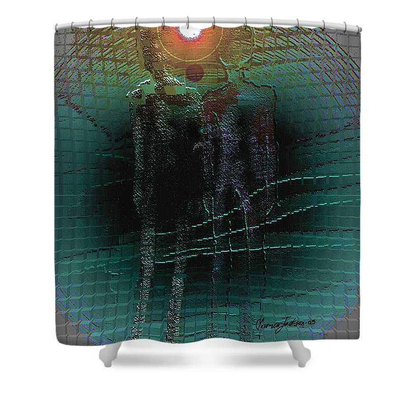 People Alien Arrival Visitors Shower Curtain featuring the digital art The Arrival by Veronica Jackson