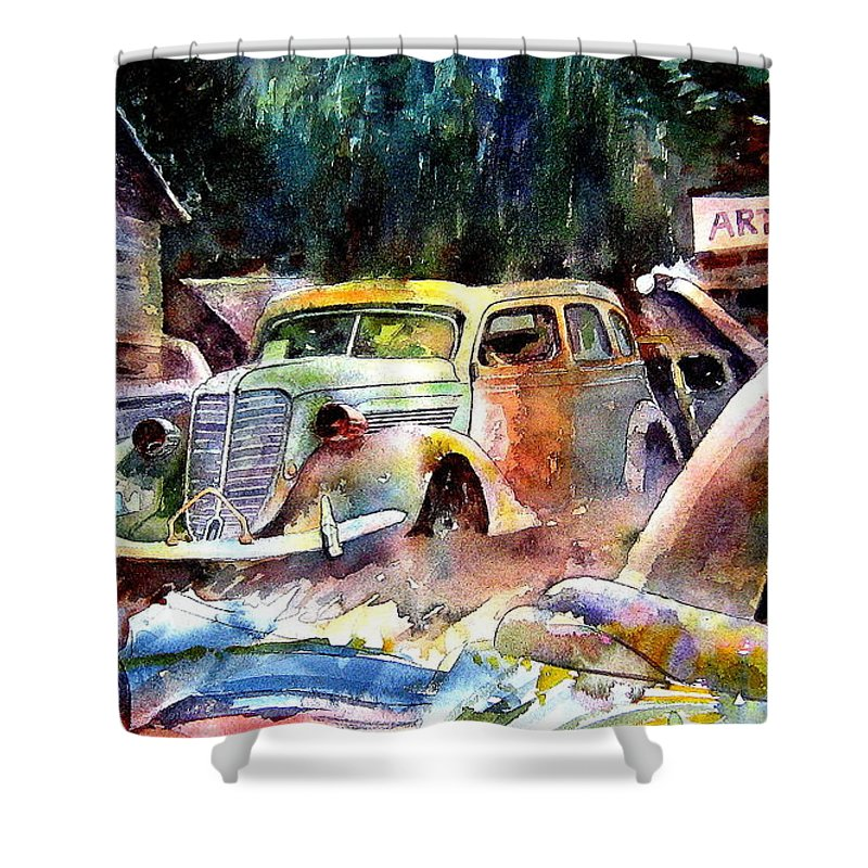 Cars Shower Curtain featuring the painting The Art Installation by Ron Morrison