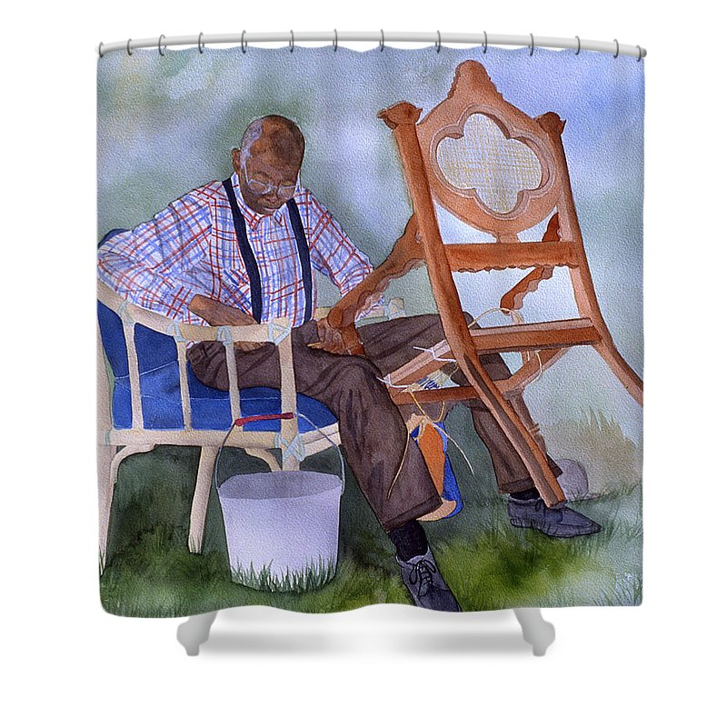 Portrait Shower Curtain featuring the painting The Art Of Caning by Jean Blackmer