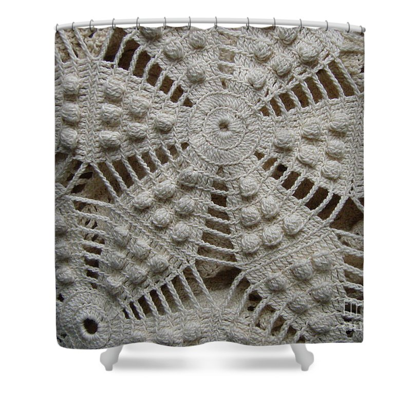 Crochet Antique Bedspread Shower Curtain featuring the photograph The Art Of Crochet by Kristine Nora