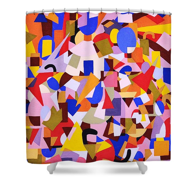 Abstract Shower Curtain featuring the painting The Art Of Misplacing Things by Reb Frost