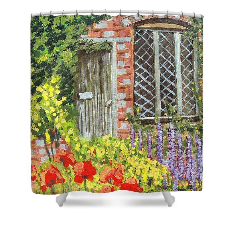 Windows Shower Curtain featuring the painting The Artist's Cottage by Laurie Morgan