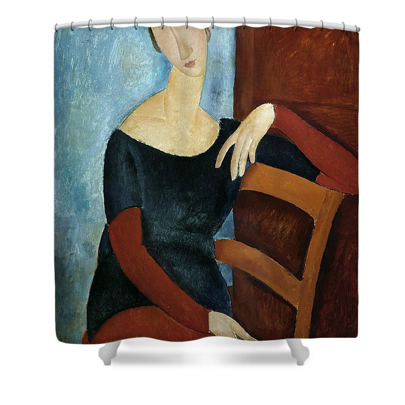 The Shower Curtain featuring the painting The Artist's Wife by Amedeo Modigliani