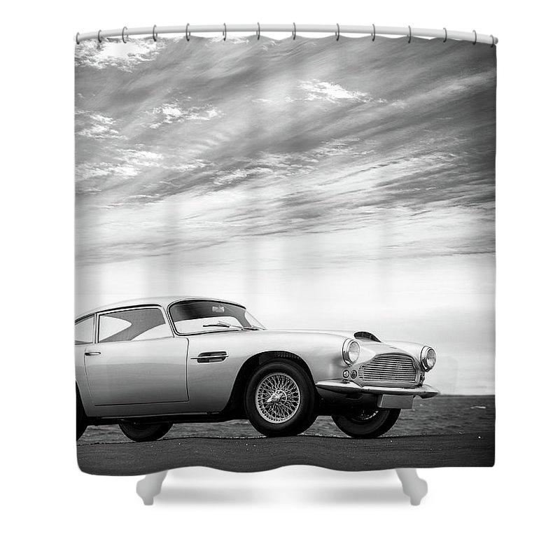 Aston Martin Db4 Shower Curtain featuring the photograph The Aston Db4 1959 by Mark Rogan