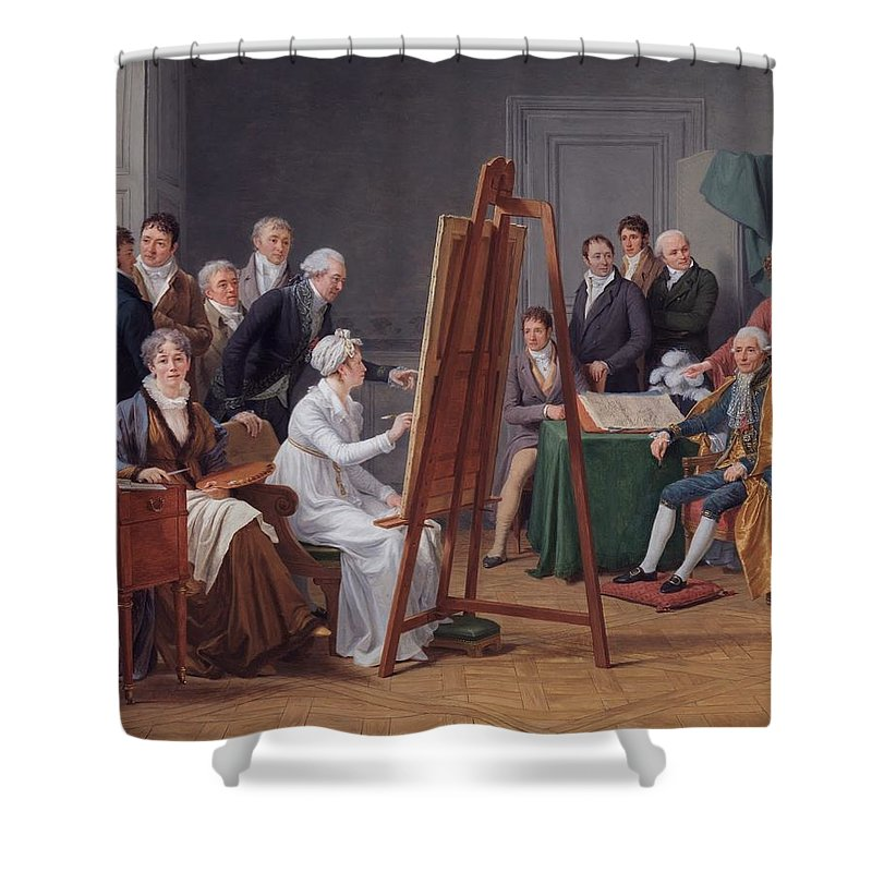 Marie-gabrielle Capet -the Atelier Of Madame Vincent 1808 Shower Curtain featuring the painting The Atelier Of Madame Vincent by MotionAge Designs