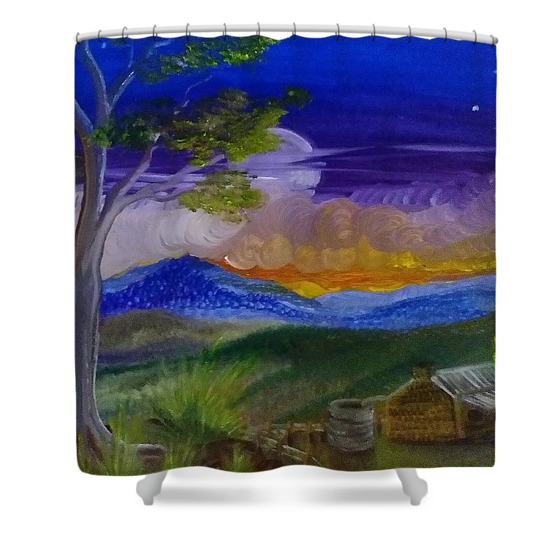 Landscape Shower Curtain featuring the painting The Australia I Know by Debra Brooke
