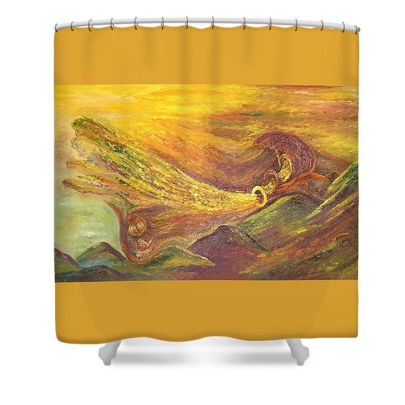 Autumn Shower Curtain featuring the painting The Autumn Music Wind by Karina Ishkhanova