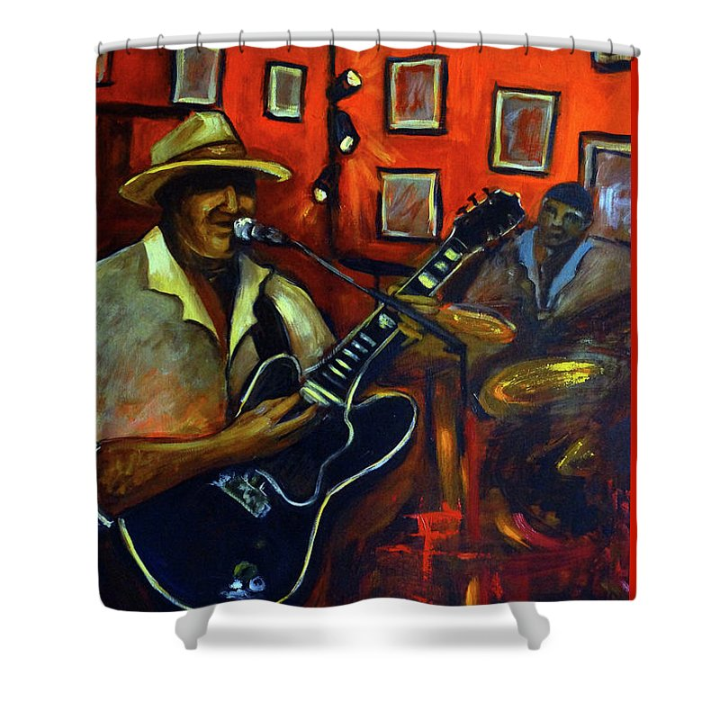 Blues Shower Curtain featuring the painting The Back Room by Valerie Vescovi