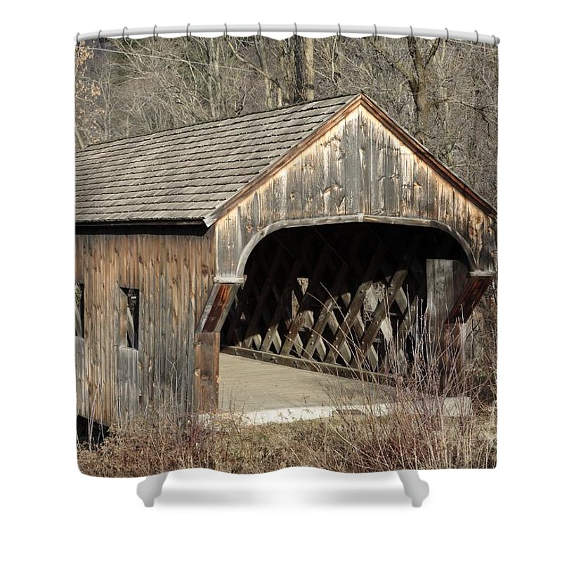 Environment Shower Curtain featuring the photograph The Baltimore Covered Bridge - Springfield Vermont Usa by Erin Paul Donovan