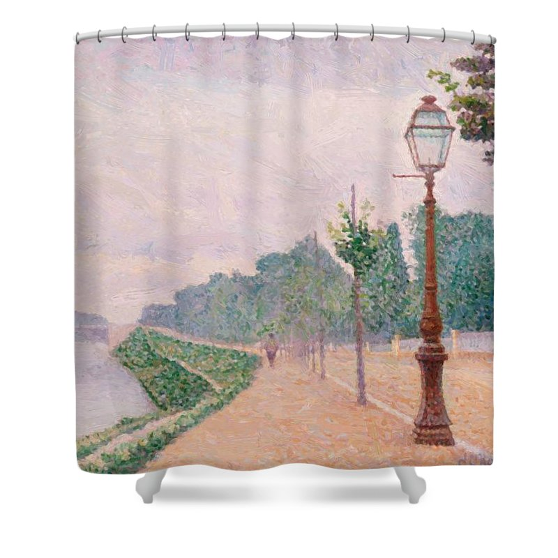 The Shower Curtain featuring the painting The Banks Of The Seine At Neuilly 1886 by DuboisPillet Albert