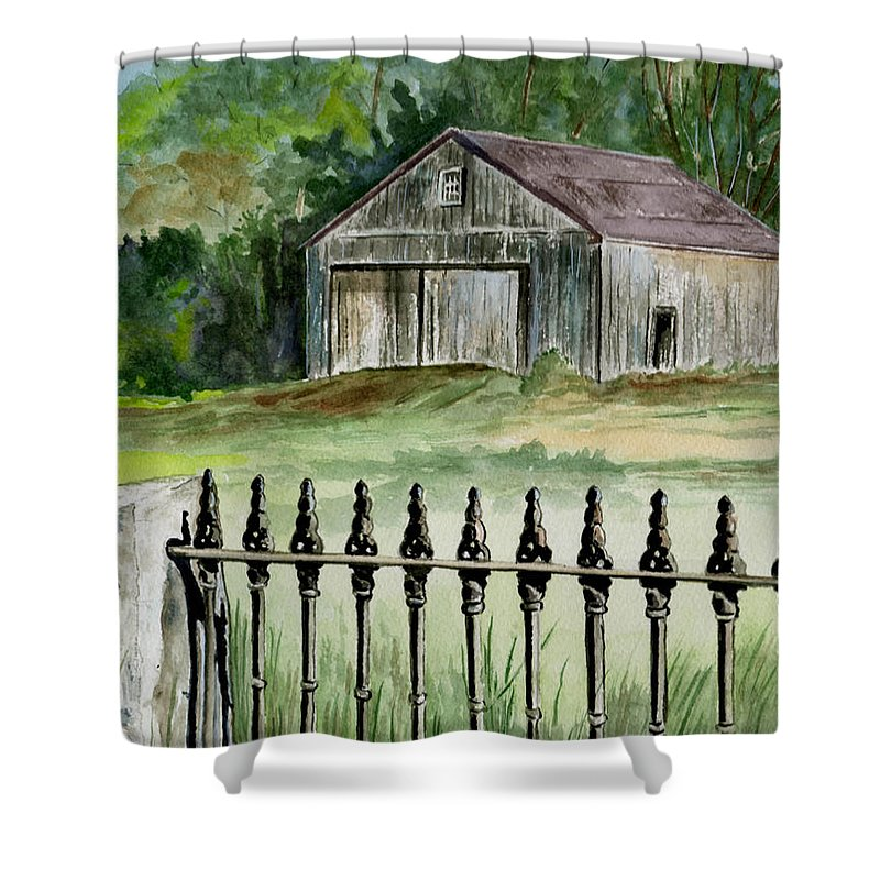 Landscape Shower Curtain featuring the painting The Barn At Parsonsfield Maine by Brenda Owen