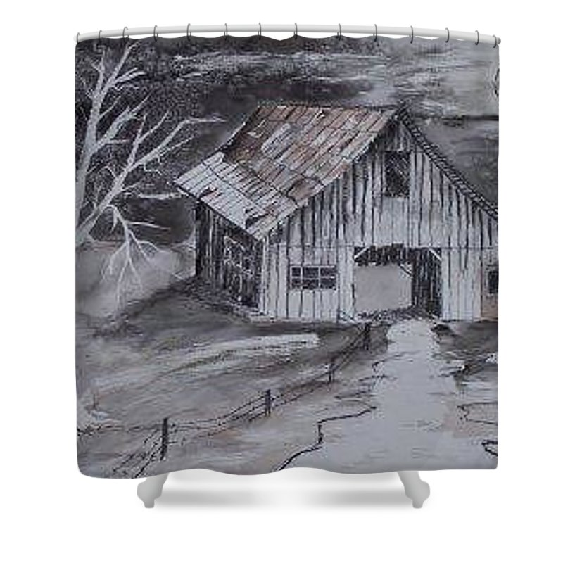 Watercolor Landscape Painting Barn Pen And Ink Painting Drawing Shower Curtain featuring the painting The Barn Country Pen And Ink Drawing by Derek Mccrea