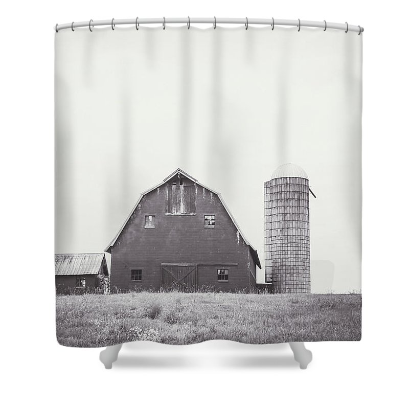 Black And White Shower Curtain featuring the photograph The Barn by Meg Porter