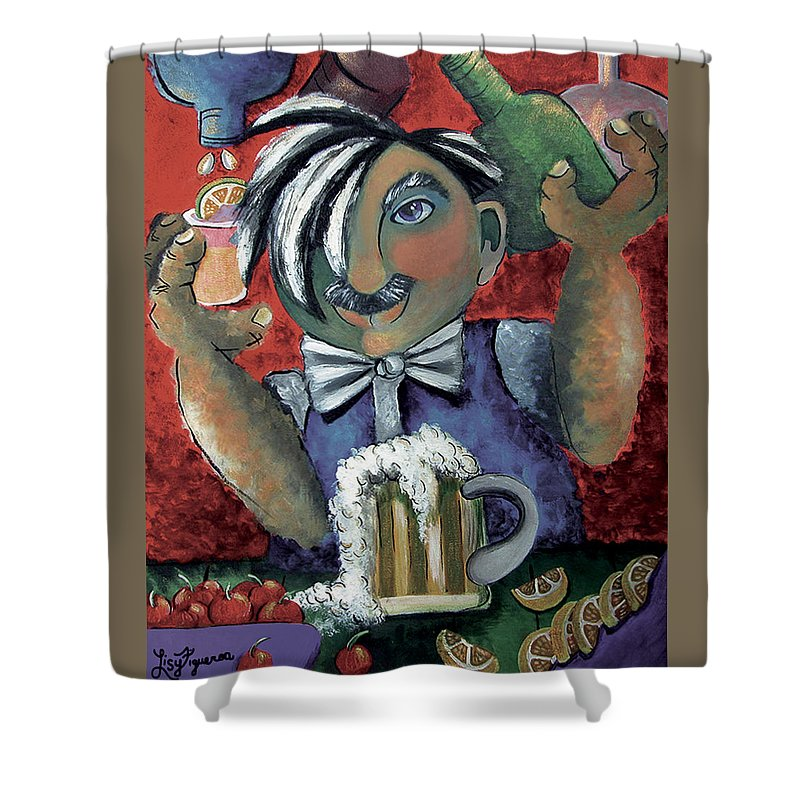 Bartender Shower Curtain featuring the painting The Bartender by Elizabeth Lisy Figueroa