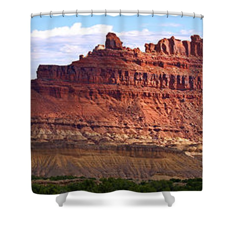 Landscape Utah Shower Curtain featuring the photograph The Battleship Utah by Heather Coen